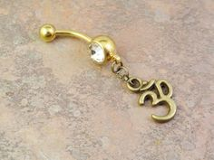 Gold Ohm Om Belly Button Ring Crystal Navel by MidnightsMojo, $14.00