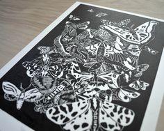 Linocut moth print. My newest print!