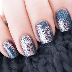 Penny Talk double stamped over You're Such A Budapest base and OPI Ink