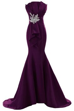 Sunvary Fancy Sheath Mermaid Satin Evening Prom Gowns for Bridesmaid 2015- US Size 8- Grape