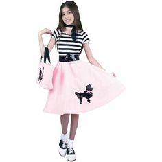Check out Kids Poodle Skirt Costume - Girls Costumes from Anytime Costumes Girls 50s Costumes, 50s Halloween Costumes, Nerd Costumes, Wholesale Halloween Costumes, Halloween Outfits, 70s Costume, Vampire Costumes, Costume Ideas, 50s Outfits For Boys