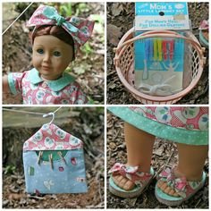 Details of the Vintage Laundry set, including the laundry basket, the pin bag, headband and shoes. SO TallulahSophieToo! Love it!