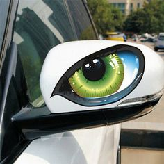1 Pair Funny Reflective Green Cat Eyes Car Stickers Truck Head Engine Rearview Mirror Window Cover Door Decal Graphics New - Kartusmanya Eye Stickers, Mirror Stickers, Mirror Decal, Window Mirror, Personalised Car Stickers, Cool 3d, Gatos Cool, Motorcycle Decals, Car Rear View Mirror