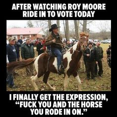 """His horse is as small as his pistol. Guess what else on ole Roy is little? That explains his obsession with teenage virgins. His wife probably just gets off on whispering, """"Jew,"""" in the mirror, pursing her vile mouth just so."""