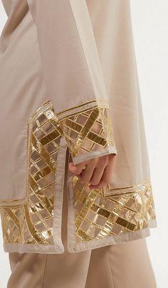 Stylish Moroccan Inspired Taupe and Gold Embellished Long Modest Tunic. Save on . Stylish Moroccan Inspired Taupe and Gold Embellished Long Modest Tunic. Save on fashionably modest Sleeves Designs For Dresses, Dress Neck Designs, Stylish Dress Designs, Neckline Designs, Blouse Designs, Pakistani Fashion Party Wear, Pakistani Outfits, Hijab Fashion, Fashion Blouses
