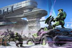 Spartan II and UNSC Marines are engaged by Covenant forces. Video Game Art, Video Games, Halo Armor, Halo Spartan, Halo Master Chief, Halo Series, Halo Game, Halo 2, Halo Reach