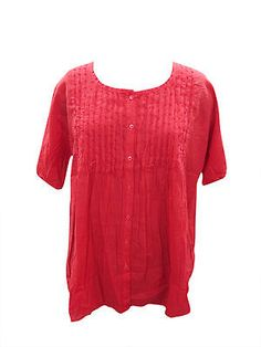 WOMEN-TOP-RED-EMBROIDERED-BUTTON-DOWN-BOHO-HIPPIE-GYPSY-COTTON-BLOUSE-TUNIC-XL