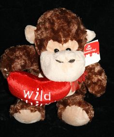 """Dan Dee adorable Valentine's Day Monkey holding a  Wild Thing Red Plush Heart Soft Toy Stuffed Ape about 12"""" #DanDee #ValentinesDay #WildThingMonkey"""