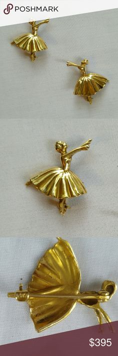 VINTAGE 14k Gold Pair Ballerina Brooches REDUCED I believe these pins to be from the 1930s prior to the restricted use of gold in 1941. They are very reminiscent of Russian ballerina Anna Pavlova seen on the face of the coin above. She was was still performing in 1932, at almost 50, when she died. Pavlova was a huge contributor to Ballets popularity today. These are a matching set, on Pointe and facing each other in arabesque. The clasps are marked 14k and the pins themselves have also been…