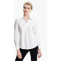 Women's Foxcroft Non-Iron Fitted Shirt ($76) via Polyvore featuring tops, white, petite, white button down shirt, v-neck tops, petite white shirt, fitted button-down shirts and v-neck shirt