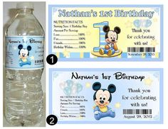 20 Mickey Mouse 1st Birthday WATER BOTTLE LABELS ~ Half Wrap Design ~ glossy…