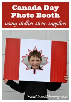 This is a great Canada Day DIY! I love that this Canada Day photo booth is easy and inexpensive to make. Who doesn't love a good dollar store craft? Dollar Store Crafts, Dollar Stores, Canadian Party, Canada Day Crafts, Canada Day Party, Photos Booth, Canada Holiday, World Thinking Day, Happy Canada Day