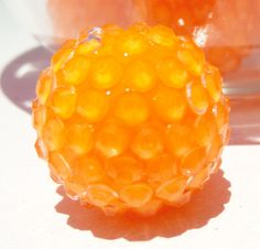 20mm 6CT Orange Transparent Rhinestone Gumball by SofiasCottage, $2.65