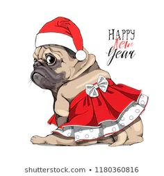 Adorable Beige Puppy Pug Red Skirt Stock Vector (Royalty Free) 1180360816 Happy Year, Merry Christmas And Happy New Year, Christmas Art, Pug Illustration, Illustrations, Colouring Pics, Cute Dogs And Puppies, Red Skirts, Portfolio