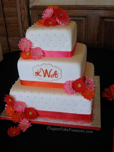 Hot Gerbera Wedding Cake by Elegant Cake Creations AZ, via Flickr