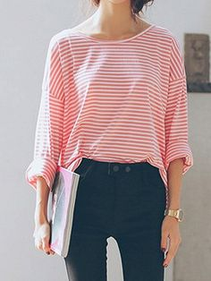 Pink Stripe Print Long Sleeve Side Split Loose T-shirt