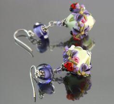 Glass Lampwork Earrings Lampwork Flower by JewelryBeadsByKatie  * Love the color mix!