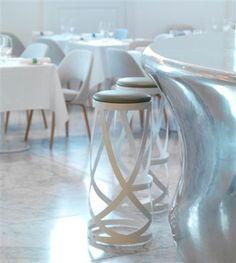 The Bond and Brook Restaurant Interior by d_raw White Restaurant, Cafe Restaurant, Restaurant Design, Restaurant Ideas, European Furniture, Contemporary Furniture, Home Furniture, Bars And Clubs, Club Design