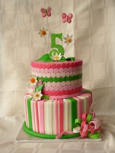 Pink and Green Girly Cake By debrascoupon on CakeCentral.com