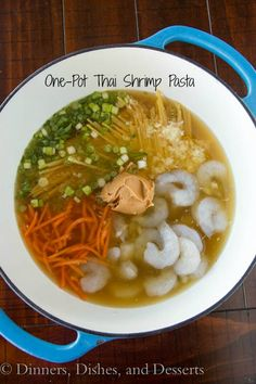 """One Pot Thai Shrimp Pasta ~ the link's recipe is better than the recipe written out here. """"1 Peanuts?"""" What the heck does that mean??"""