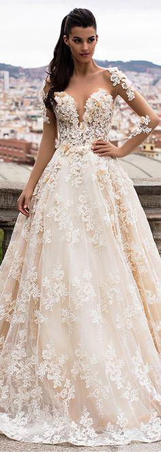 Lavish Tulle & Satin Bateau Neckline A-Line Wedding Dresses With Beaded Lace Appliques