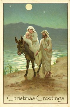Vintage printable Christmas cards - Jesus, Mary, Joseph and donkey by a lake in moonlight