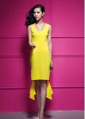 Hot ladies yellow dress , dress to impress 2014, ladies fashion.
