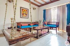 Indian Home Decor Traditional With Pops of Colour in Noida is part of Living Room Decor Indian - Looking for Indian home decor inspiration Here's a with a traditional swing, wooden rafters & beautiful pops of colour Wooden Ceiling Design, Ceiling Design Living Room, Wooden Ceilings, Interior Design Living Room, Living Room Designs, Indian Home Design, Indian Home Interior, Room Interior, Living Room Decor Traditional