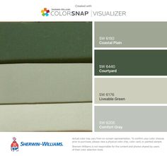 I found these colors with ColorSnap® Visualizer for iPhone by Sherwin-Williams: Coastal Plain (SW Courtyard (SW Liveable Green (SW Comfort Gray (SW Interior Paint Colors For Living Room, Office Paint Colors, Paint Colors For Home, House Colors, Green Color Schemes, Paint Color Schemes, Green Colour Palette, Cream Paint Colors, Grey Paint