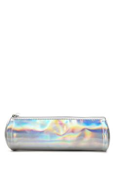 A holographic makeup pouch featuring a pull zipper top.