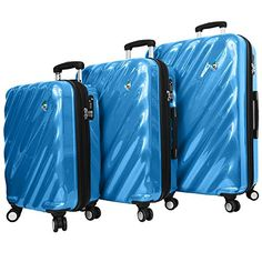 Mia Toro Onda Fusion Hardside Spinner 3 Piece Set Blue One Size >>> Be sure to check out this awesome product. 3 Piece Luggage Set, Luggage Sets, Hardside Spinner Luggage, New Set, Bedding Shop, Traveling By Yourself, All In One, Suitcase, Italy