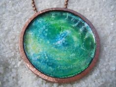 Enamel Jewelry, Enamel Pendant, Enamel Necklace, Copper, Earth on Etsy, $50.00 LOVE THE COLORS!