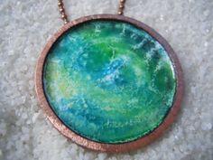 Enamel Jewelry, Enamel Pendant, Enamel Necklace, Copper, Earth on Etsy, $50.00