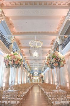 Tampa Bay Buccaneers Mike Evan's Houston Wedding, Ceremony Space with Tall Floral Decorations
