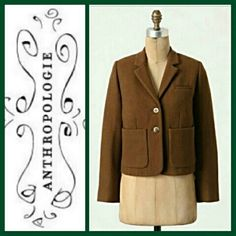 Cartonnier Kentfield Blazer Purchased, then left in dry-cleaning bag. Very high quality piece. Recently dry-cleaned. Fully lined in soft cotton, shell is softened wool. This blazer is the epitome of professional.  Internal, buttoned pockets. Outside pockets too. Warm, cozy, and very cute!  Bust is 41 in. Waist is 38 in. Sleeve length is 23.5 in. Shoulder width is 16 in. Length is 20.5 in. Anthropologie Jackets & Coats Blazers