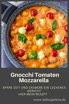 Saltsugarlove # Food and Drink vegan recipes Gnocchi Tomaten Mozzarella - SaltSugarLove Easy Snacks, Easy Healthy Recipes, Healthy Snacks, Vegetarian Recipes, Easy Meals, Vegetarian Lunch, Shrimp Recipes, Pizza Recipes, Snack Recipes