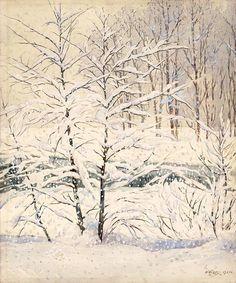 Winter Wonderland, 1921, California art by Gunnar Widforss. HD giclee art prints for sale at CaliforniaWatercolor.com - original California paintings, & premium giclee prints for sale