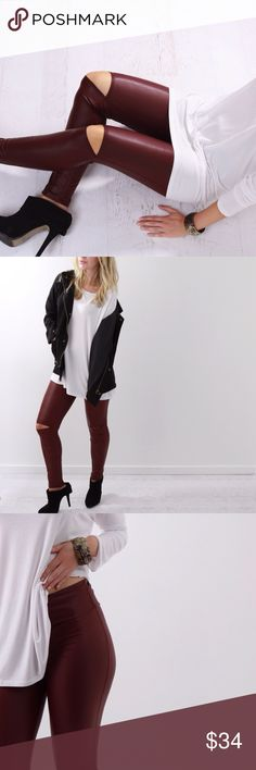 Wine Slit Knee Leggings ◽️️️️Slit knee leggings in a gorgeous deep wine color and perfect matte faux leather finish. I love these for wearing with comfy tops and sweaters! Waist can be worn high rise or folded down.️ Stretchy and very comfortable. New.  ▫Sizes: S | M | L (1 LEFT IN EACH SIZE) ▫️Material: 92% poly/8% spandex ▫️Price firm  Photos are my own Pants Leggings