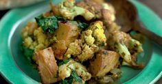 Aloo gobi, or cauliflower with potatoes, is a classic Punjabi dish with a variety of interpretations, Madhur Jaffrey's recipe features garlic, fenugreek and green chillies.