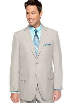 Saddlebred Sage Gray Classic Fit Sage Gray Stria Suit Separate Coat