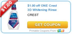 Free @ CVS after Receiving $4.00 ExtraBucks. $1.00 off ONE Crest 3D Whitening Rinse.  Print your coupons now  while it's available.