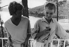 Francoise Sagan with Jean Seberg during filming of Sagan's novel Bonjour Tristesse, 1958.