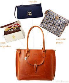 Organizing a large handbag via Arianna Belle Organized Interiors.