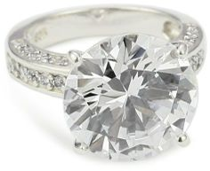 """Kenneth Jay Lane CZ by Trend Cubic Zirconia"""" Rhodium-Plated Overstated Round Cocktail Ring, Size 7 on shopstyle.com"""