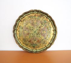 """Vintage large gold and mint green gilt tray. Measures 15 5/8"""" round x 3/4"""" high"""