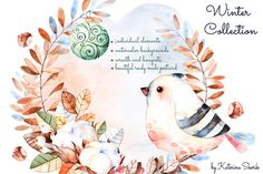 watercolor wreath with bird   water graphics   graphic design resources from Creative Market