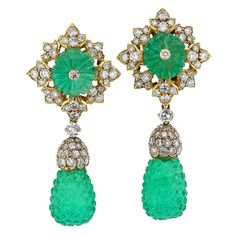 Carved Emerald, Diamond and Gold Earrings