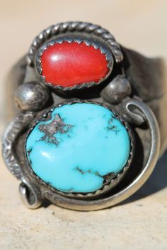 Vintage Southwestern Tribal Sterling Silver Turquoise Red Coral Mens Ring   eBay