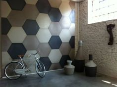 Coloured concrete hexagon wall tile feature #tiles #signorinotilegallery
