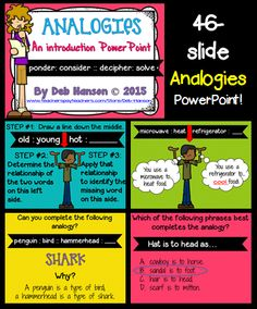 Analogies PowerPoint- includes 46 slides  (over 30 practice slides:  fill-in-the-blank & multiple choice format)